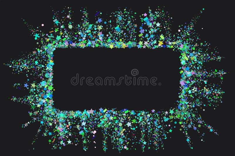 Pink Frame from pink confetti on black background. Romantic background with text place. Party confetti texture with copy. Space for text. Vector editable vector illustration