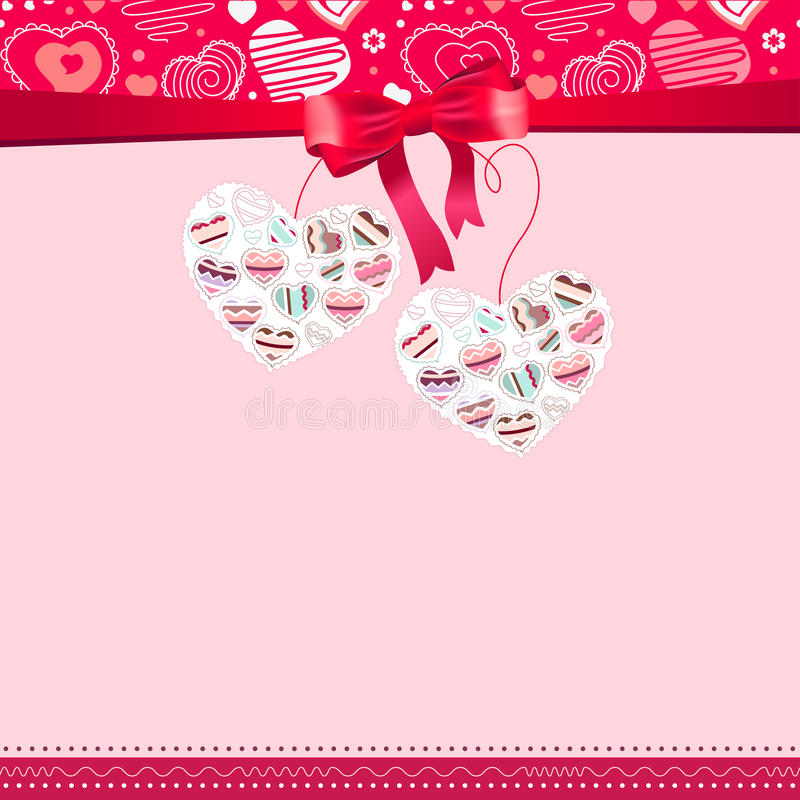 Pink frame with contour hearts vector illustration
