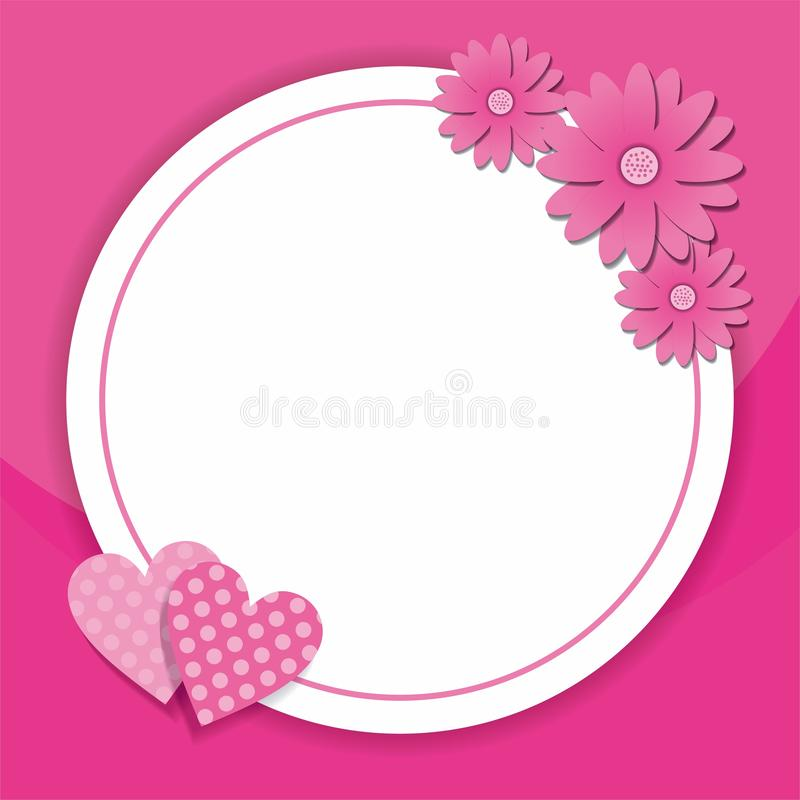 Pink frame design with flower and heart decoration stock illustration