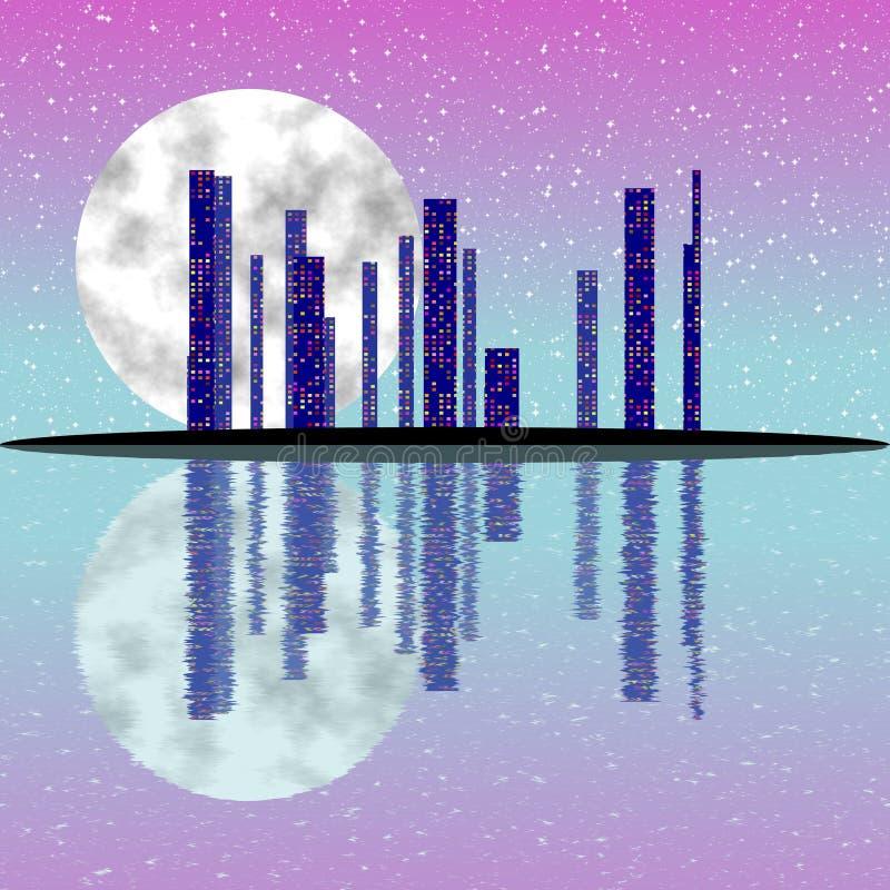 Pink full moon night, cityscape illustration with lighting buildings on island. Dark skyscrapers royalty free illustration