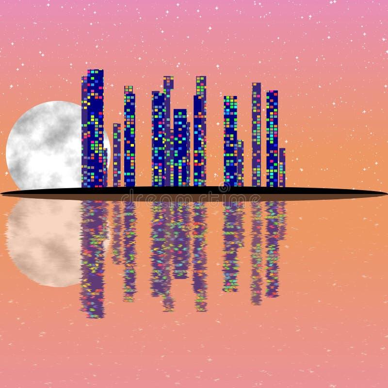 Pink full moon night, cityscape illustration with lighting buildings on island. Dark skyscrapers stock illustration