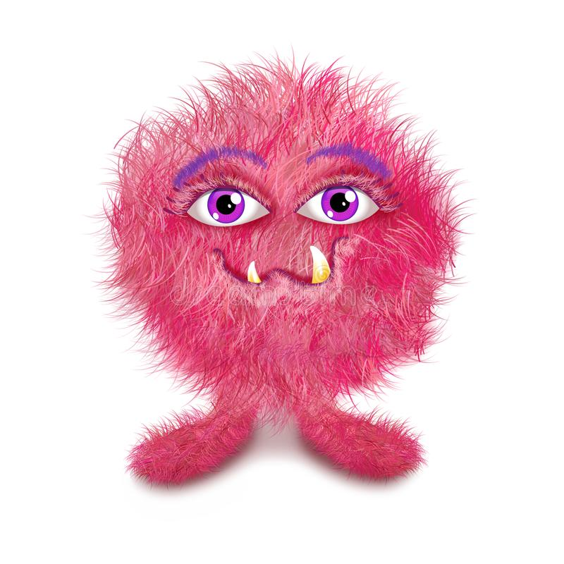 Pink furry monster ball royalty free stock photos