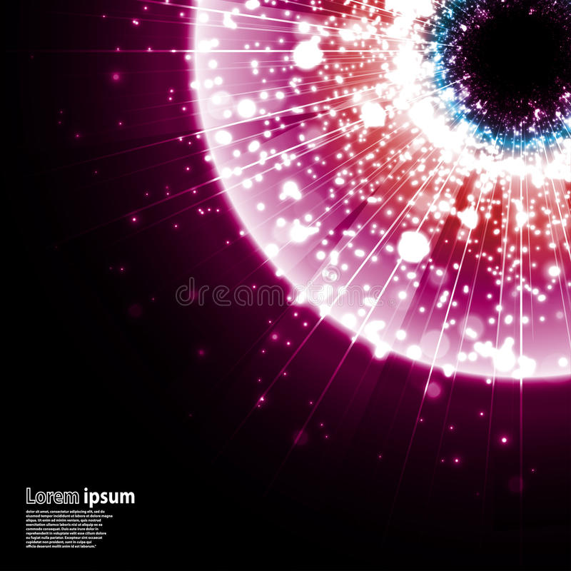 Pink galaxy explosion on black background vector illustration