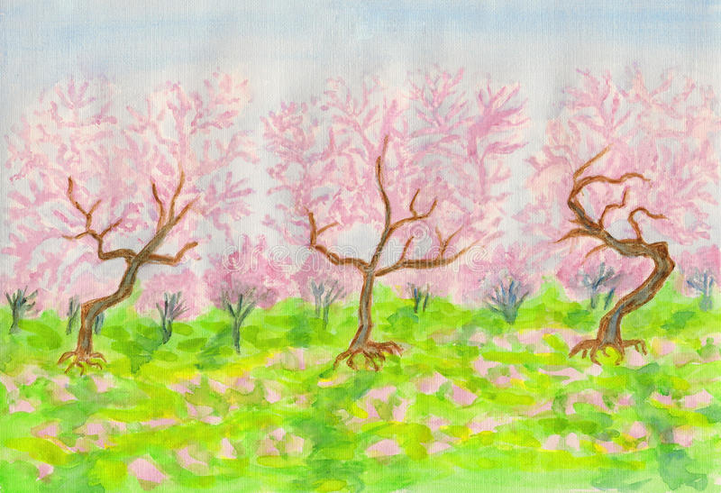 Download Pink garden stock illustration. Image of painting, spring - 28749824