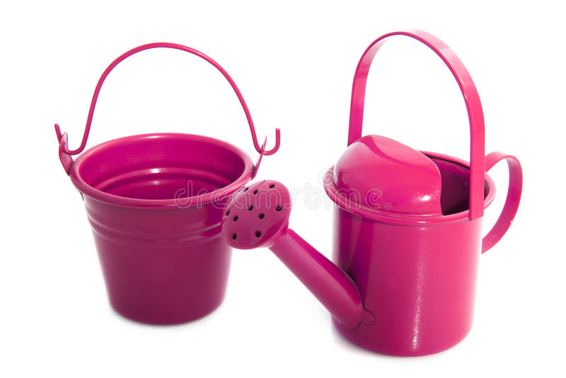 Pink garden equipment royalty free stock image