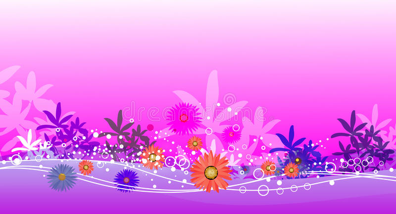 Pink garden and water royalty free illustration