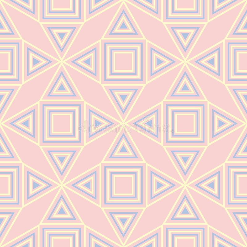 Pink geometric seamless background. Multi colored pattern stock illustration