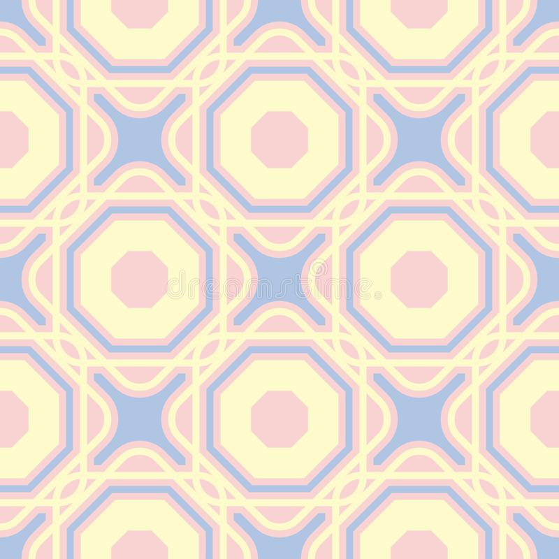 Pink geometric seamless background. Multi colored pattern vector illustration