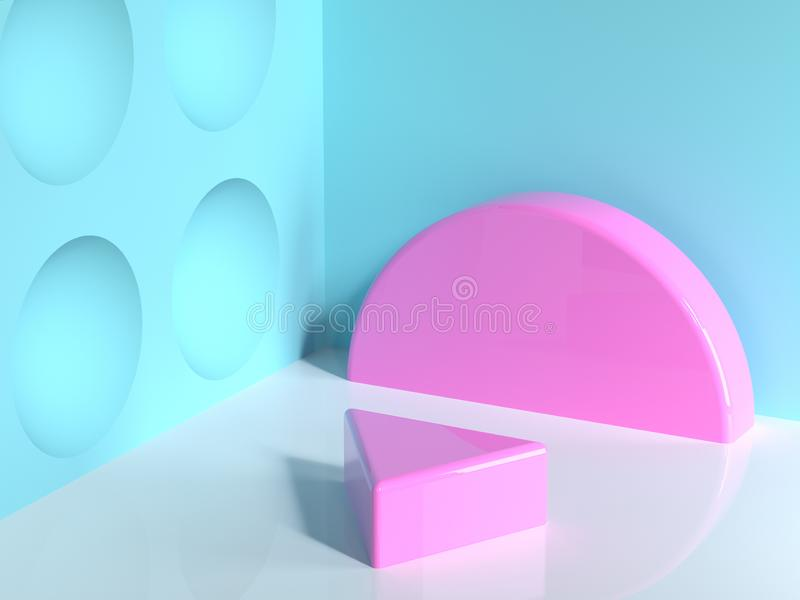 pink geometric shape blue wall corner white floor abstract minimal scene triangle blank podium 3d render royalty free illustration