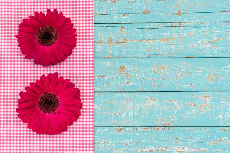 Pink gerbera daisy greeting card for Valentine`s or Mother`s Day, rustic style, top view royalty free stock image