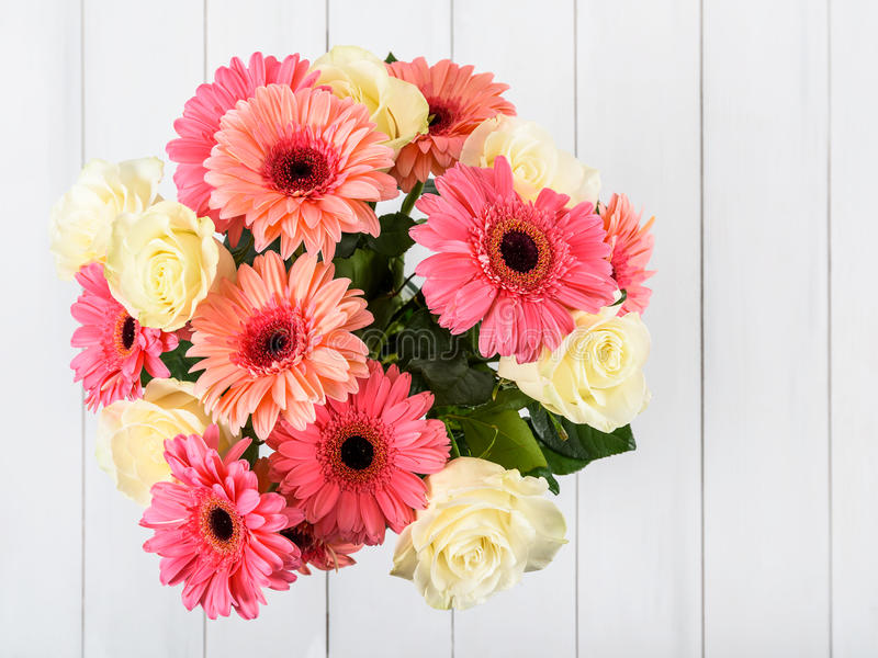 Download Pink Gerbera Flowers And White Roses Bouquet Stock Photo - Image: 83700004