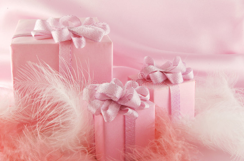 Pink gift stock photo