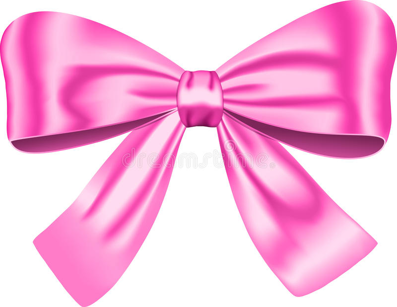 Pink gift bow. Isolated on white background. Vector illustration. Ribbon royalty free illustration