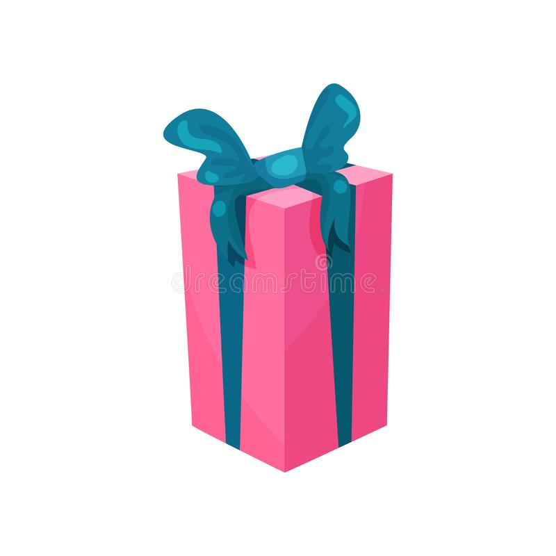 Pink gift box with big blue bow. Present for Birthday. Cartoon icon in modern flat style. Sale or shopping concept stock illustration