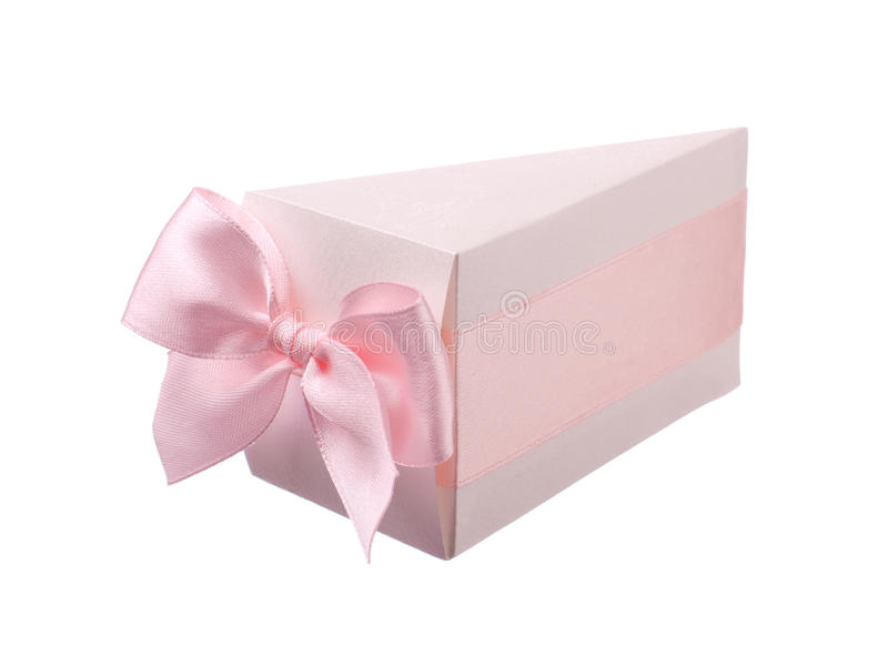 Pink gift box with bow. Isolated over white background royalty free stock image