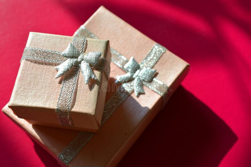 Pink gift box decorative pink background stock photography