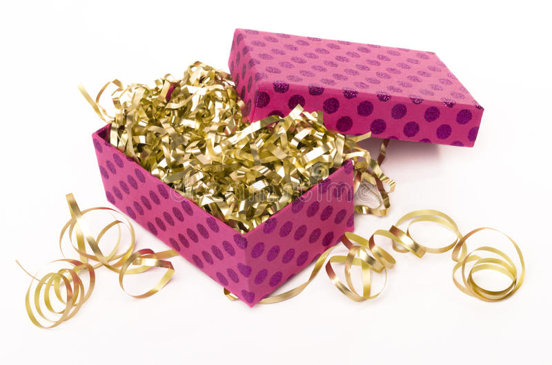 Pink Gift Box With Golden Ribbons Royalty Free Stock Image