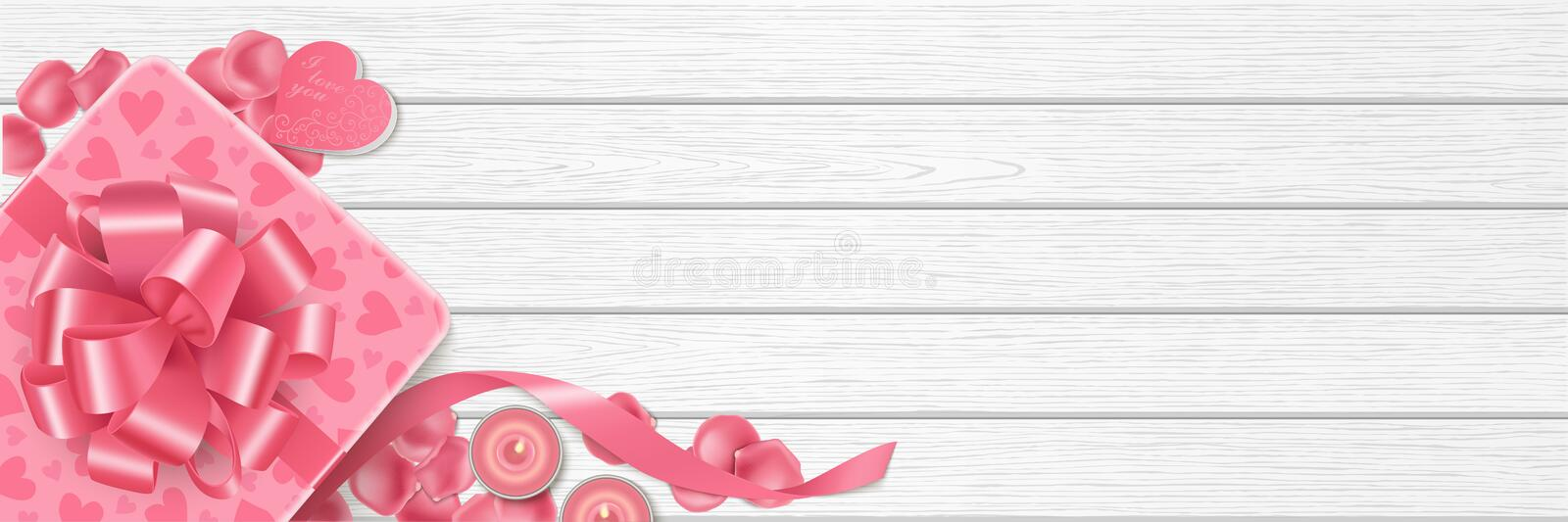Valentines Day web banner with pink gift boxes. Pink gift box, rose petals, romantic candles and copy space on the white wooden table. Top view. Valentine`s Day royalty free illustration