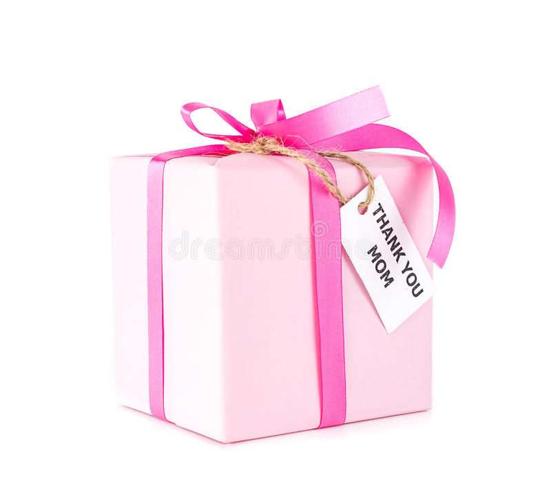 Pink gift box with thank you mom tag on white stock images