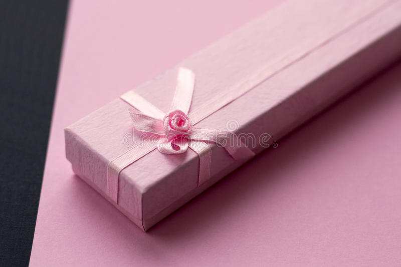 Pink gift box. Valentines day. royalty free stock images