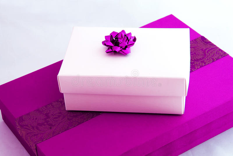 Pink gift boxes stock photos