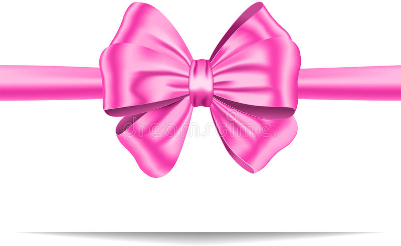 Pink gift ribbon with bow vector illustration