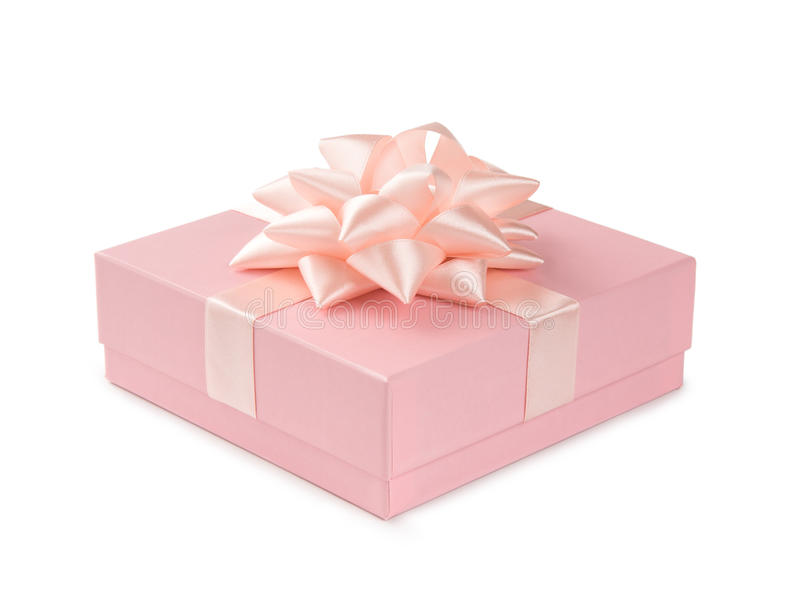 Pink gift with ribbon and bow isolated on white background stock photography