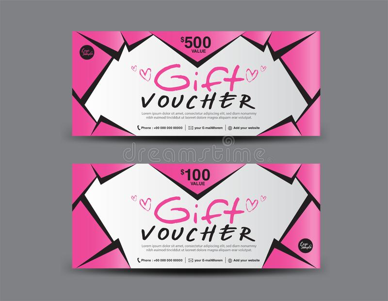 Pink Gift Voucher template, coupon design, certificate, ticket template, discount layout, banner vector, Valentine`s day banner. Pink Gift Voucher template royalty free illustration