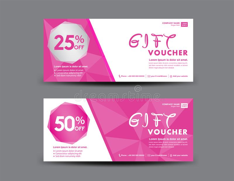 Pink Gift Voucher template, coupon design, certificate, ticket template, discount layout, banner vector Valentine`s day sale. Pink Gift Voucher template, coupon stock illustration