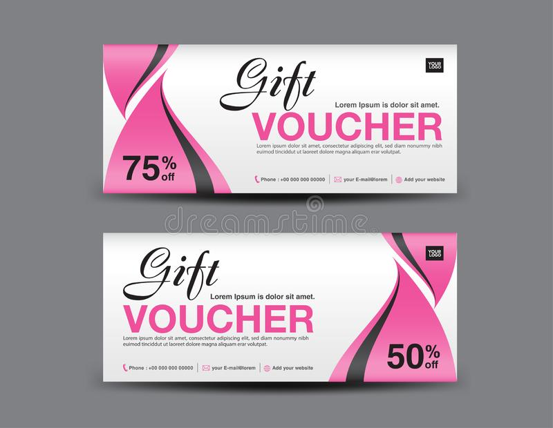Pink Gift Voucher template, coupon design, certificate, ticket template, discount layout, banner vector, Valentines card. Pink Gift Voucher template, coupon vector illustration