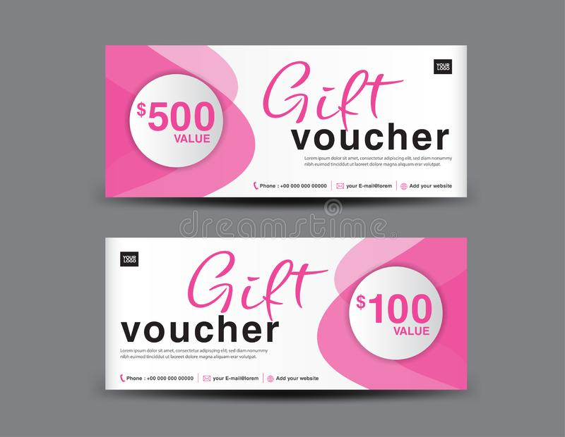 Pink Gift Voucher template, coupon design, certificate, ticket template, discount layout, banner vector, Valentine`s sale banner vector illustration