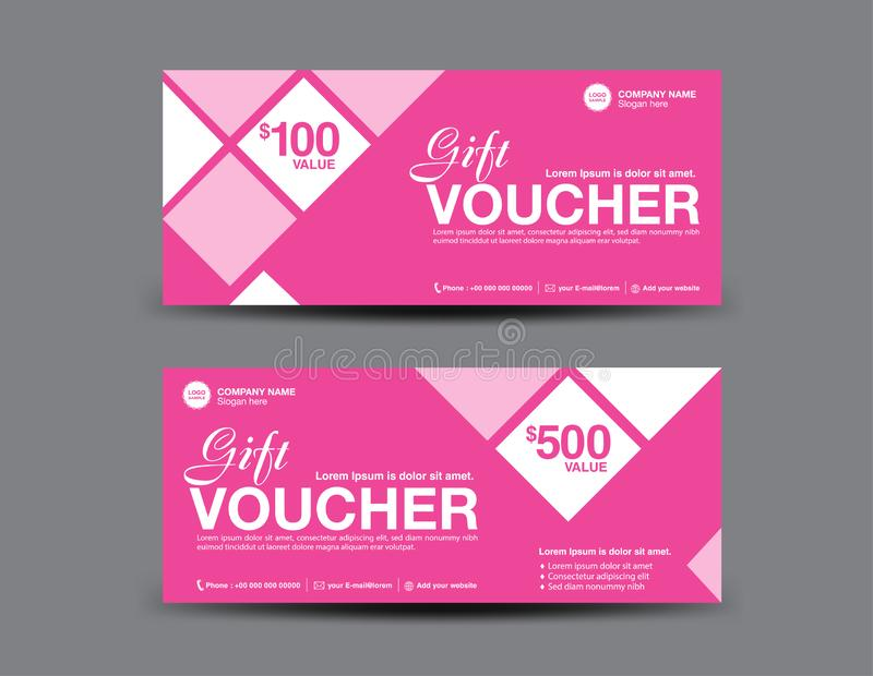 Pink Gift Voucher template, coupon design, certificate, ticket template, discount layout, banner vector, Valentine`s day sale. Pink Gift Voucher template, coupon stock illustration