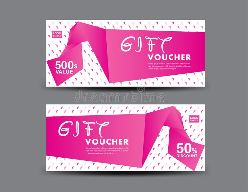 Pink Gift Voucher template, coupon design, certificate, ticket template, discount layout, banner vector, Valentine`s day sale stock illustration