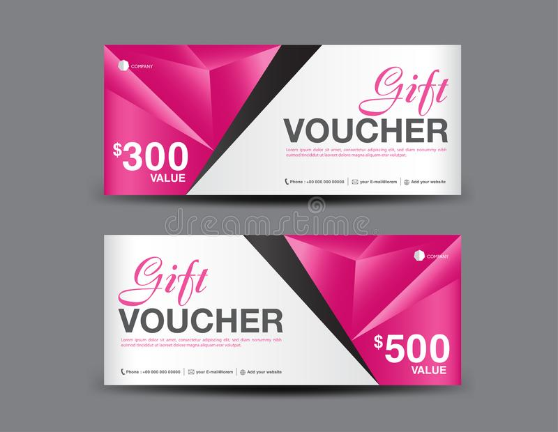 Pink Gift Voucher template, coupon design, certificate, ticket template, discount layout, banner vector. Illustration, Valentine`s Day sale banner royalty free illustration