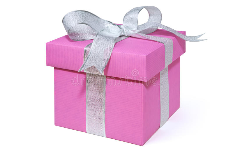 Pink giftbox with a silver ribbon, isolated on white stock images