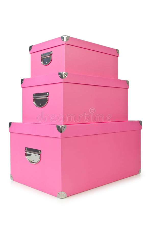 Download Pink giftboxes  on white stock image. Image of party - 26480611