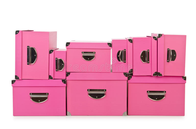 Download Pink giftboxes  on white stock photo. Image of background - 26841978