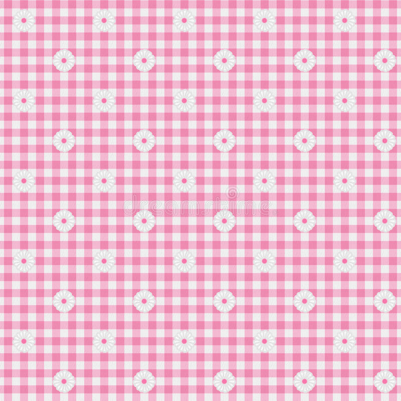 Pink Gingham Fabric with Flowers Background. A light pink gingham fabric with flowers background that is seamless stock image