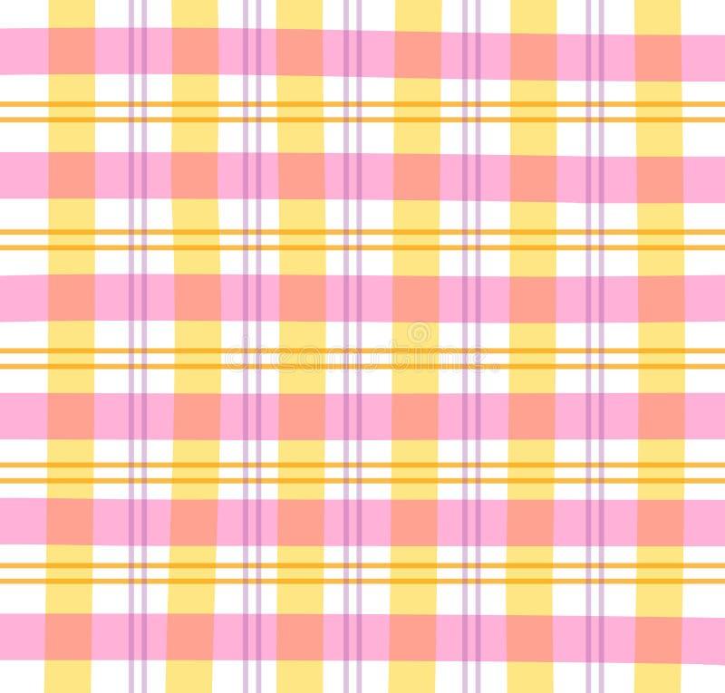 Pink Gingham Plaid. Illustration of a pink/orange/purple pastel plaid pattern vector illustration