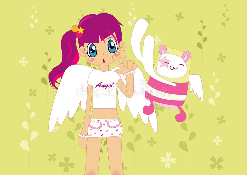 Pink girl stock illustration