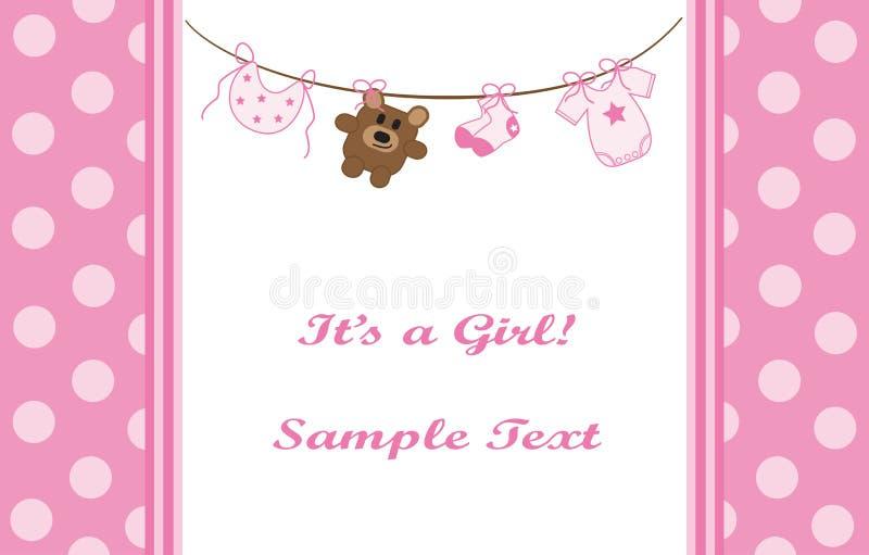 Download Pink Girl Announcement stock vector. Image of babies - 19824979