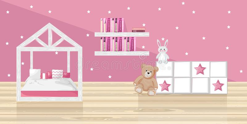 Pink girl bedroom Vector flat style. Toys and books on pink backgrounds stock illustration
