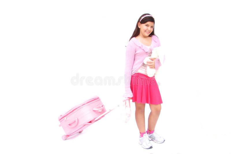 Pink girl with luggage and toy