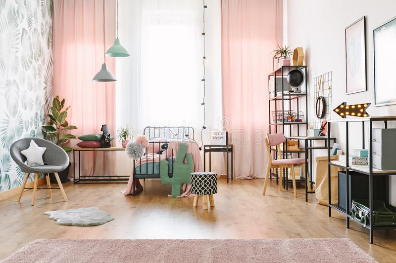 Pink girl room interior royalty free stock image