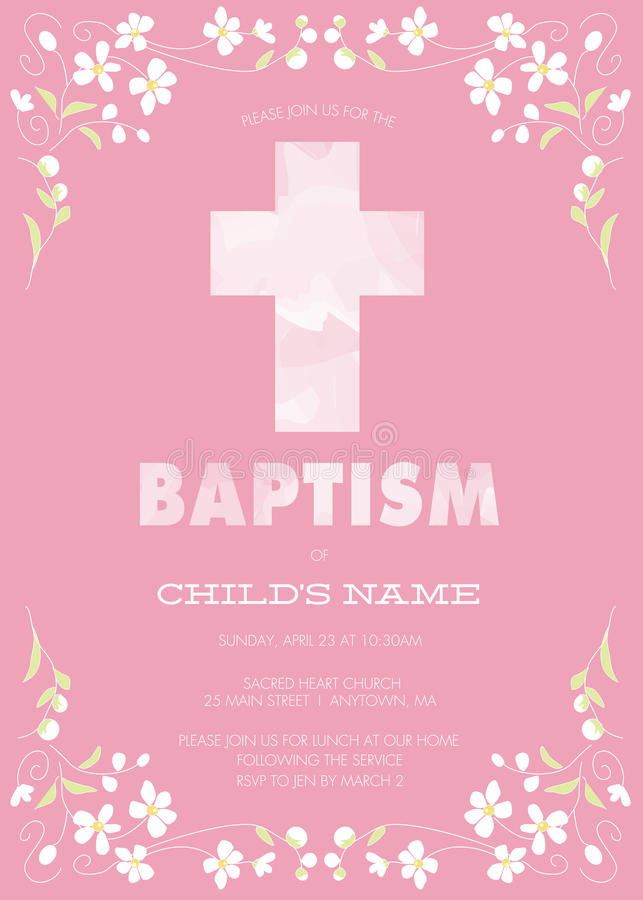 Pink Girl's Baptism/Christening/First Communion/Confirmation Invitation with Watercolor Cross and Floral Design - Vector royalty free illustration