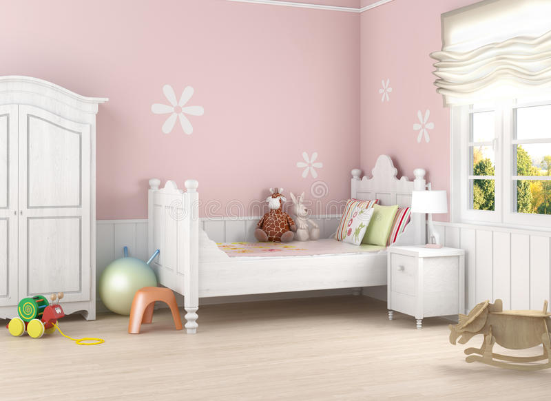 Pink girl´s room. Girls´s room in pink walls with bed and toys on the floor