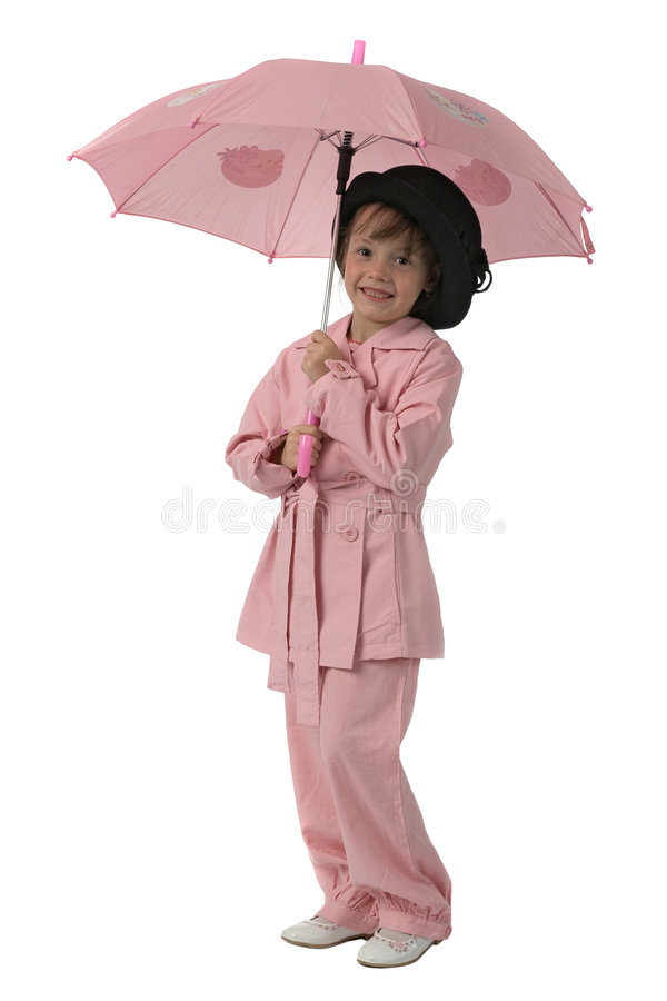 Pink girl with umbrella. Funny girl in fashioned pink clothes with pink umbrella in hands isolated on white stock photo