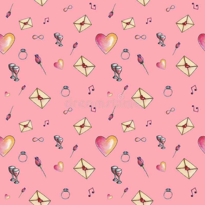 Pink glamorous cartoon valentine pattern royalty free stock image