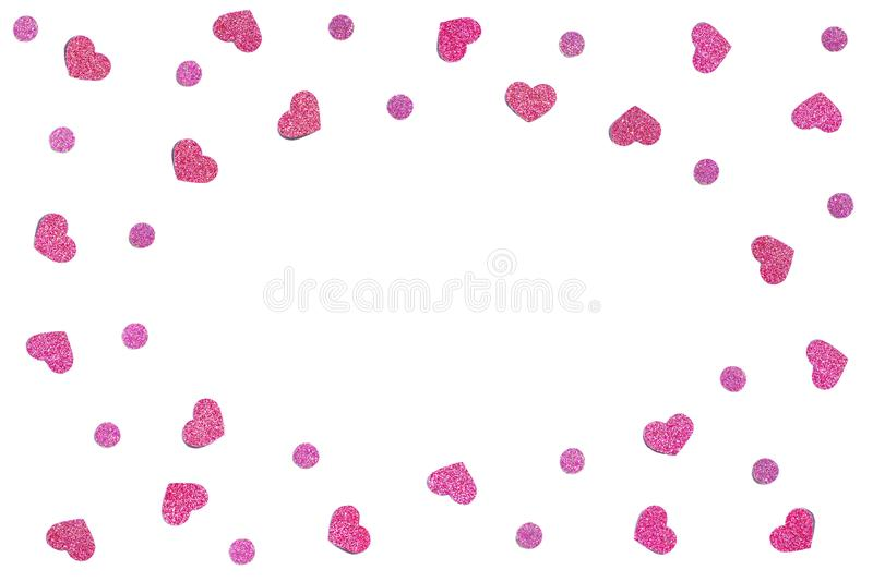 Pink glitter heart paper cut background stock images