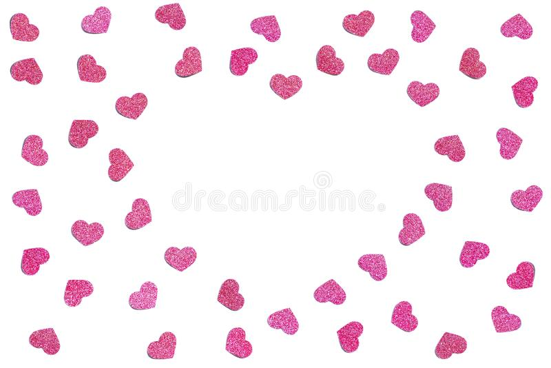 Pink glitter heart paper cut background royalty free stock photos